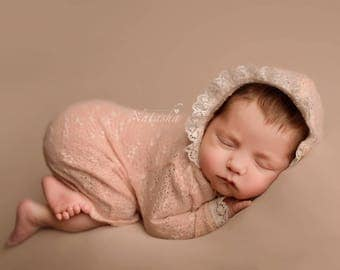 Newborn peach hoodie photo prop, baby girl posing outfit, vintage hooded photography prop
