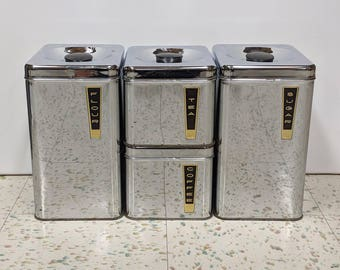 Lincoln BeautyWare Chrome Kitchen Canisters, Mid-Century Modern, Vintage