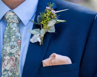 Blue and Pink Floral Skinny Tie - Men's Pastel Tie - Women's Floral Tie - Rose Quartz and Serenity Tie - Vintage Floral Wedding Tie