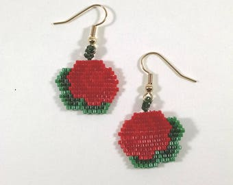 Beaded Red Rose Earrings, Brick Stitch Flower Jewelry, Small Red Rose Earrings, Floral Spring Jewelry, Valentine Gift for Her