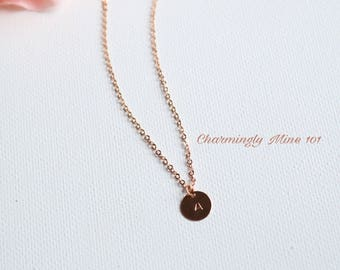 Personalized jewelry. Initial necklace. Rose Gold filled necklace. Bridesmaid necklace. Personalized gift. Hand stamped necklace