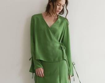 Green wrap tie silk long sleeve blouse, silk shirt, long sleeves shirts, beach & daily blouse, woman's girl's blouse