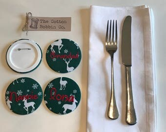 Set of 4 Personalised Christmas Badge Place Name Table Settings Large 77cm Embroidered Fabric Table Setting Christmas Badges