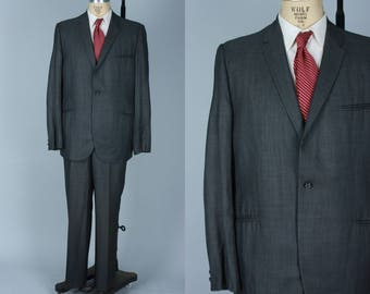 Vintage 1950s Men's Suit | Gunmetal Grey Single Breasted Narrow Lapel Suit | Size 42