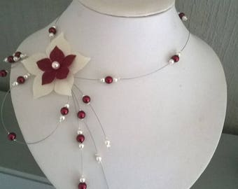 Silk flower bridal wedding necklace beads Burgundy / white (or ivory) evening ceremony Christmas bridesmaid