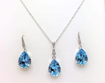 Aquamarine Jewelry Set Swarovski Wedding Set Aqua Blue Pendant Blue Crystal Drops Blue Earrings Bridesmaid Gift Mother of the Bride Gift