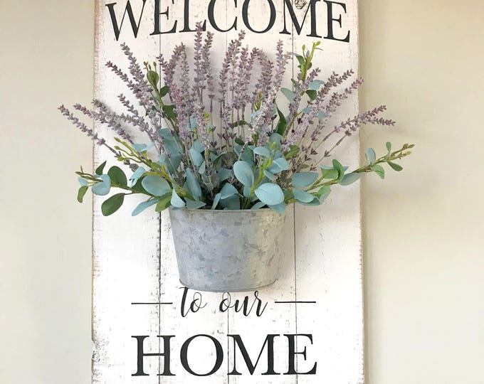 Farmhouse Welcome Sign   Floral Holder Sign