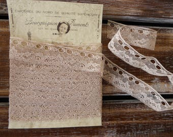 Vintage ecru French rayon lace with eyelets, 4 metres