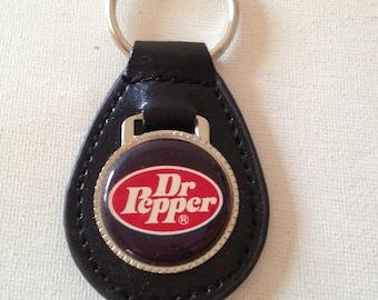 Dr Pepper Keychain Black Leather Key Chain