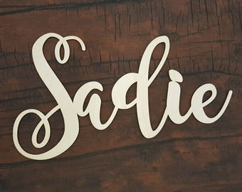 Unpainted Nursery Wall Hanging - Wooden Name - Script Word - Unpainted Wood Name- Personalized Wall Hanging