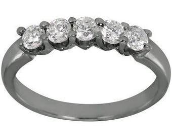 Classic Diamond Band With Five Prong Set Diamonds Weighing 1/2 ctw