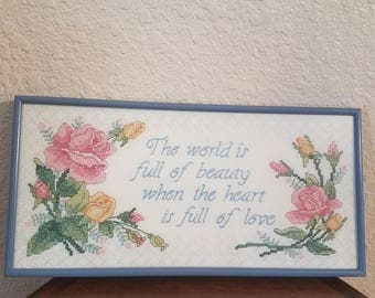 The World is Full of Beauty When the Heart is Full of Love /  Primitive Sign/ Home Decor / Sign / Gift
