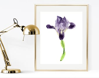 Iris painting, printable iris, watercolor iris, watercolor print, botanical print, botanical wall art, printable watercolor flowers, flower