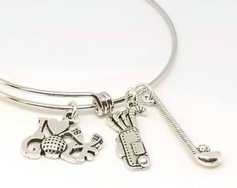 Golf bracelet - Golf charm bracelet - Golf jewelry - Golf bangle - Golf charms - Golf gifts - Women's golf - Golfing - Hole in one