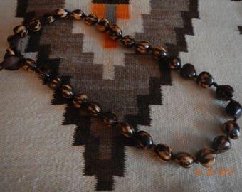 Tiger-striped Hawaiian Kukui Nut Brown Ribbon Necklace