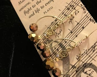 Musical Charm Earrings, Copper Crystal Beads, Treble Clef Charm, Music Lovers Gift