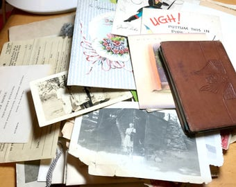 Huge lot of mixed vintage ephemera, vintage paper, newspaper clippings, greeting cards, photographs, announcements, etc