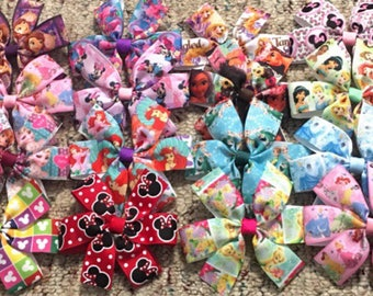 Disney hair bows, disney hair clip, Hair Bows For Girls Lot of 10 girls HairBows- Disney HairBows