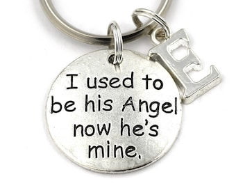 I Used To Be His Angel Now He's Mine Key Ring, Personalized Memorial Keychain, Dad Remembrance Keyring, Initial Keychain, Sympathy Gift,Loss
