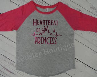 Heartbeat of a Princess, Disney, Girl Disney Raglan,