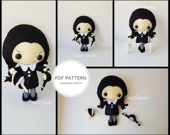 Wednesday Addams Gothic Horror Plushie PDF Felt Pattern