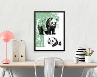 Panda Family print, Nursery Decor, Framed Pandas Print, Woodland Animals, Natural Decor, Panda Gift, Kids Room Decor, Nursery Wall Art
