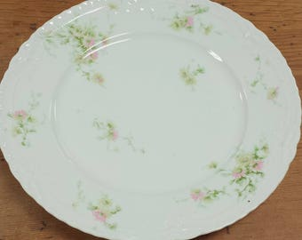 Theodore Haviland Limoges Dinner Plate Pink Yellow Daisies Schleiger Raised Ribbons/Bows