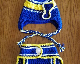 St. Louis Blues hat and diaper cover set.