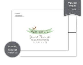 Woodland Theme A7 Envelope Template - Printable - Green --- #B330-IE1