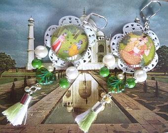 "Earrings Bohemian ""JASMINE"" cabochon shown India, white metal, tassels, Czech glass beads"