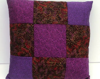 Purple effect monochrome patchwork pillow
