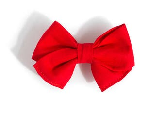 Red Bow Headband - Wedding Hair Accessories - Christmas Hair Bow for Girls -  Fabric Hair Bow - Nylon Headband - Hair Clip for Toddlers