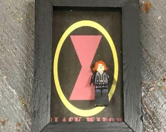 Black Widow Avengers Comic Lego Figurine Wall Display Picture Frame Toy Art
