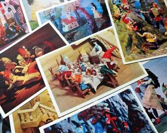 Vintage Snow white postcard set - Fairy tale clay figures art postcards - The Grimm fairy tale illustration print set - Clay animation