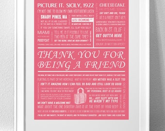"""GOLDEN GIRLS, """"Thank You For Being A Friend"""" Typography Print"""