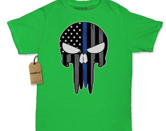 Police Thin Blue Line Skull American Flag - Support Police Departments Womens T-shirt