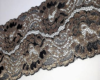 """5 1/4"""" Wide Black & Champagne Floral Lace by yard"""