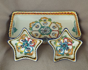 Ceramic Mexican Snack Tray; Decorative Tray and Dishes; Appetizer Tray