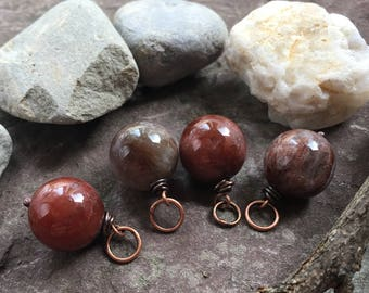 Round Quartz pendant, smooth Quartz pendant, copper and stone charms