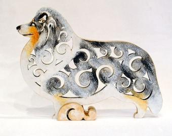 Statuette Sheltie, Shetland Sheepdog dog, figurine made of wood, hand-painted with acrylic and metallic paint