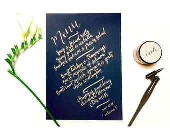 Wedding navy and copper hand drawn menus, table decor, typography, calligraphy, elegant