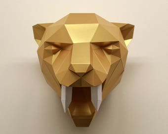 Fiona the Sabre-Tooth Tiger | Papercraft, Faux Taxidermy, Paper Tiger, DIY Kit, Paper Sculpture