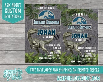 Jurassic World Inspired Raptor Birthday Invitation | Any Age, 4x6 or 5x7, Digital File or Printed