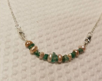 Emerald and fresh water pearl necklace
