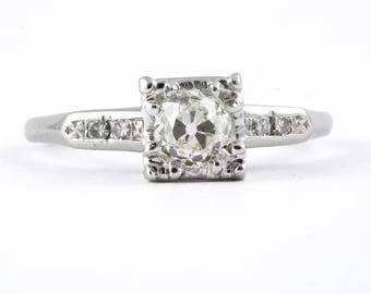 Vintage .51 ct. Old Mine diamond platinum engagement ring. Circa 1930