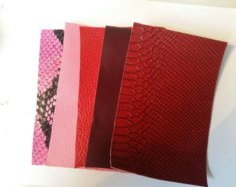 5 mixed leather rectangles / harmony-red / pink / python / smooth/seed / echantllon/sample/shades of red leather scraps / fancy/textured leather