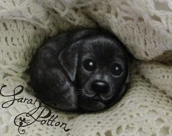 Painted Animal Rock - Dog: Black Labrador Puppy