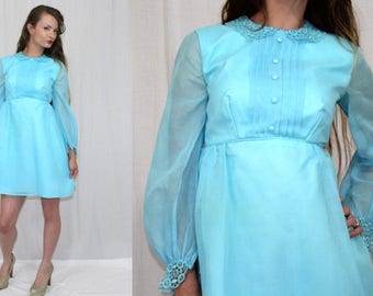 Vintage 60s MOD Blue LACE Collar Empire Baby Doll Retro Mini Party Dress XS