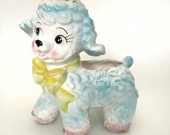 Little Lamb White and Blue w Yellow Bow Planter Flower Pot Samson Import Co. Japan