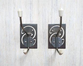 Vintage Coat hooks Set of 2 Metal wall hooks Wall decor